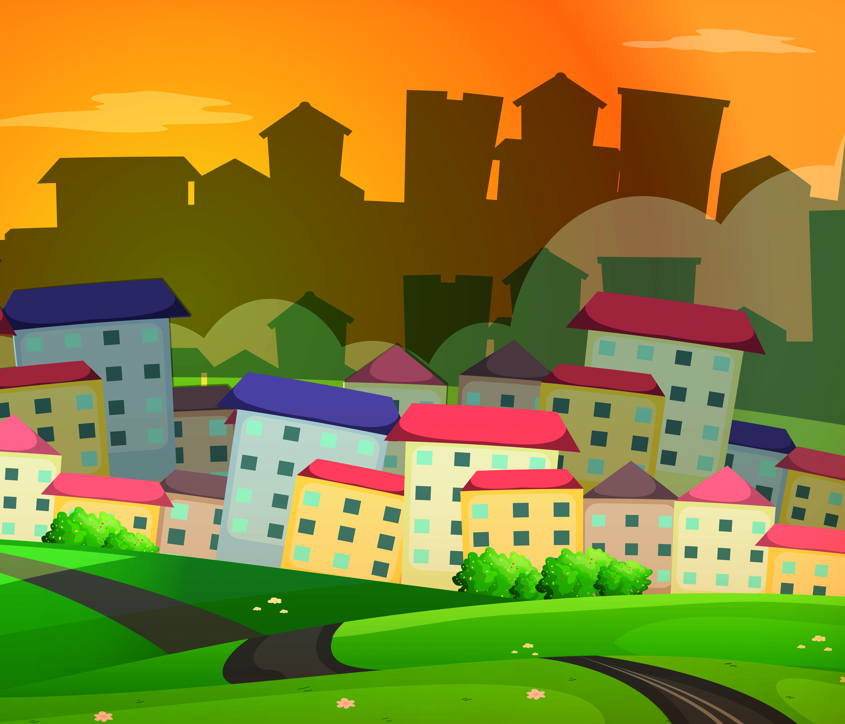 Background scene with many houses in village
